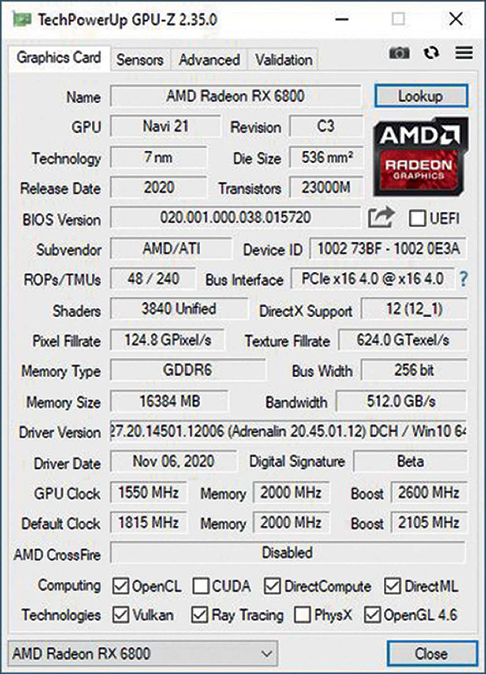 rx6800 boost 2600 mhz