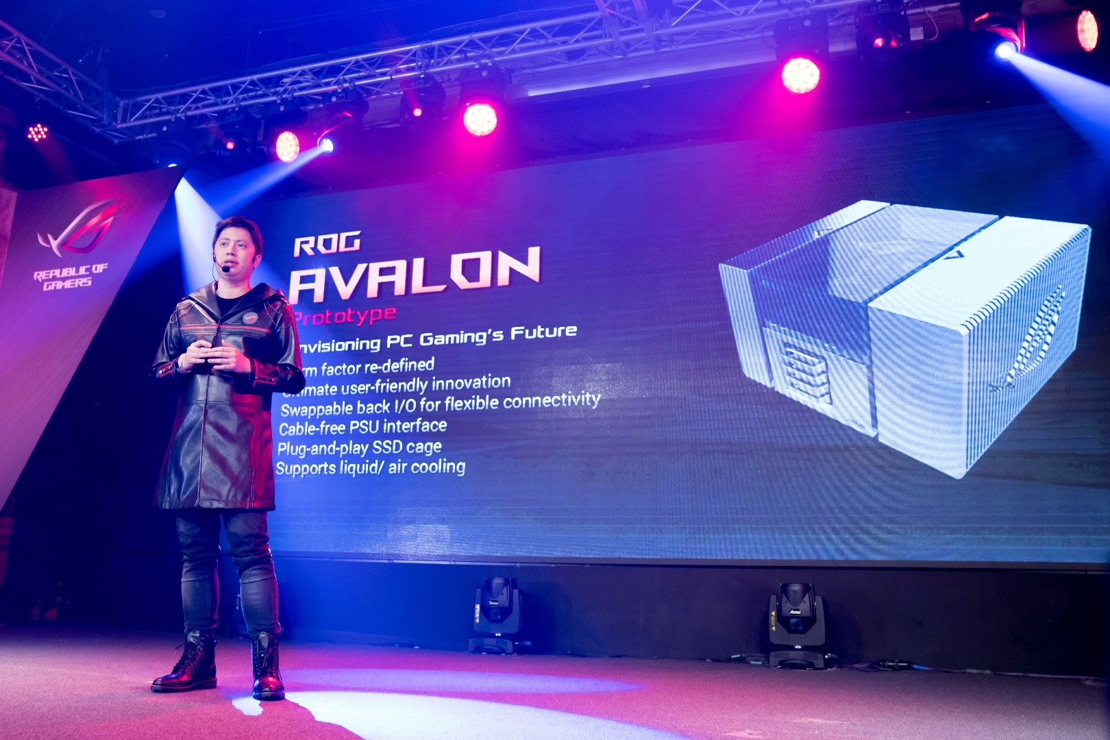 ROG Marketing Direct Derek Yu unveiled the ROG Avalon a prototype motherboardchassi